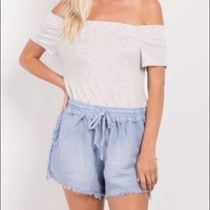 Blue Frayed Drawstring Shorts